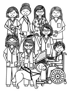 Nurse collage coloring book cover
